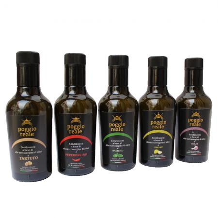 Olio extravergine aromatizzato tartufo limone peperoncino basilico blend